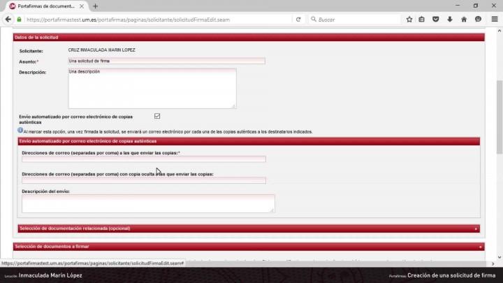 Creación de una solicitud de firma