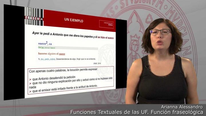 Funciones textuales de las UF. 2. Función fraseológica