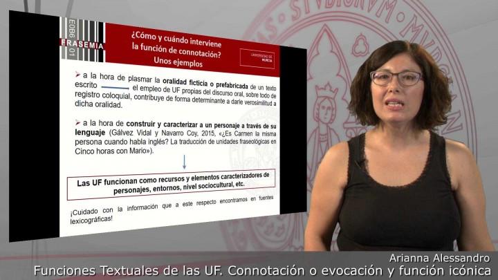 Funciones textuales de las UF. 3. Función de connotación o evocación y función icónica