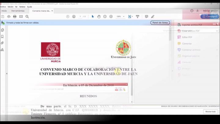 Firmas interoperables de documentos PDF. Caso de uso 1. Firma de la UM y firma usuario externo