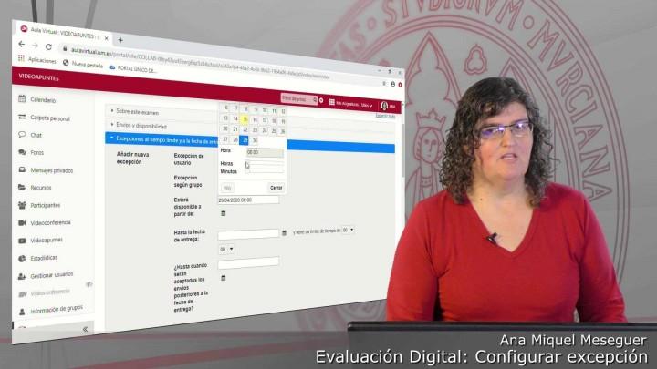 Configurar una excepción al tiempo y hora de entrega de un examen para un estudiante o grupo