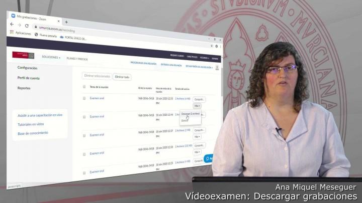Descargar grabaciones de una sesión de Videoexamen