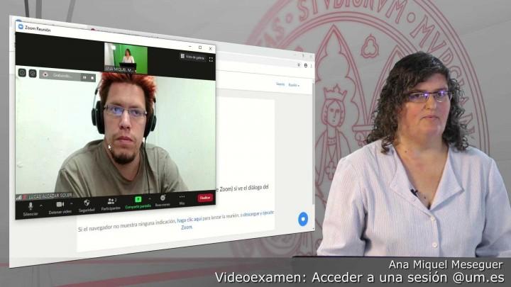 Acceder a una sesión programada de Videoexamen autenticados con @um.es y grabación automática