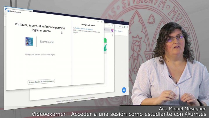 Acceder a una sesión de Videoexamen como estudiante autenticados con @um.es