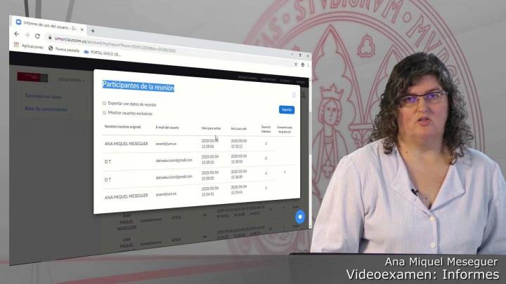 Videoexamen. Ver informes de uso y de reunión