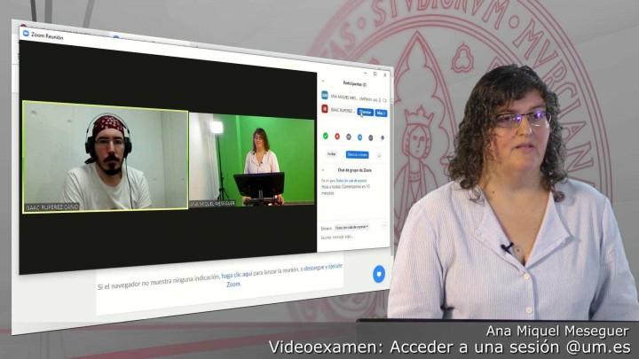 Acceder a una sesión programada de Videoexamen autenticados con @um.es sin grabación