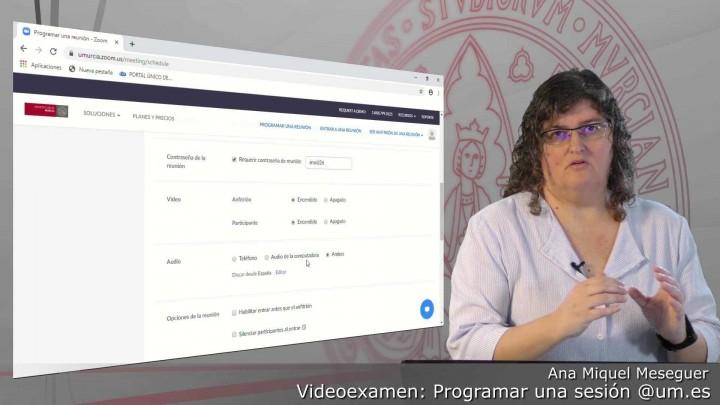 Videoexamen. Programar una reunión para usuarios @um.es sin grabación