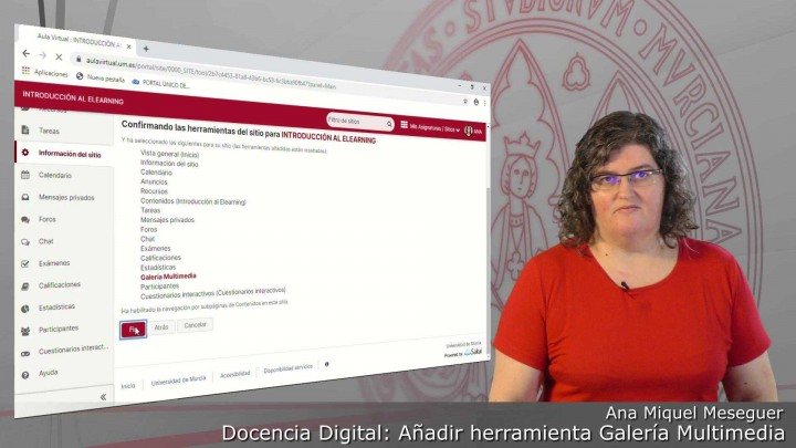 Cómo activar la herramienta Galería Multimedia en cada sitio del Aula Virtual