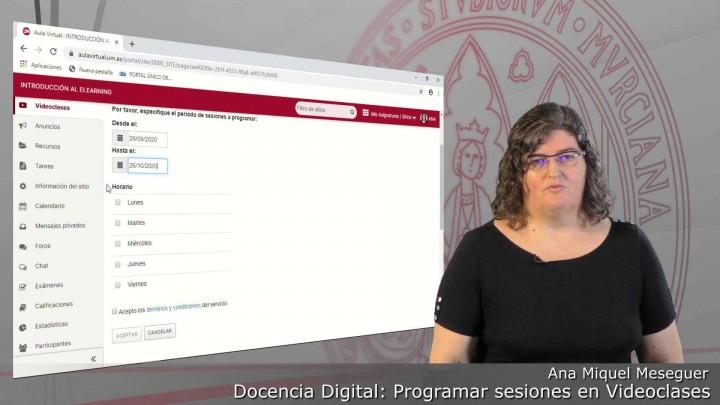Cómo programar una sesión de Videoclases para grabar nuestra docencia