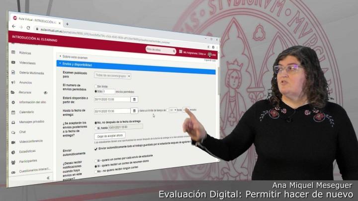 Cómo permitir hacer de nuevo un examen enviado a un estudiante sin modificar la configuración