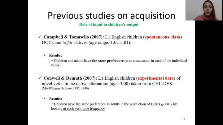 The acquisition of English dative constructions by English-Spanish bilinguals