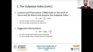 The Gulpease Index as a predictor of lexical and syntactic complexity in the legal domain (...)