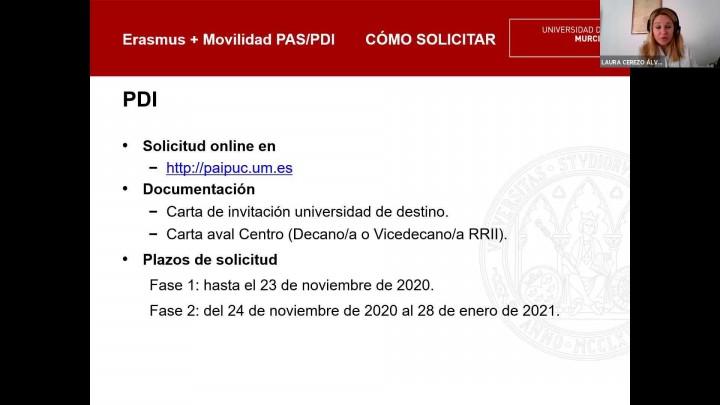 Jornadas Informativas de Movilidad Internacional #JIMI2020 - Erasmus+ PDI/PAS 2020-21