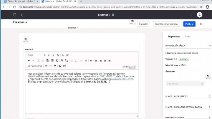 Idioma. Insertar contenidos en varios idiomas