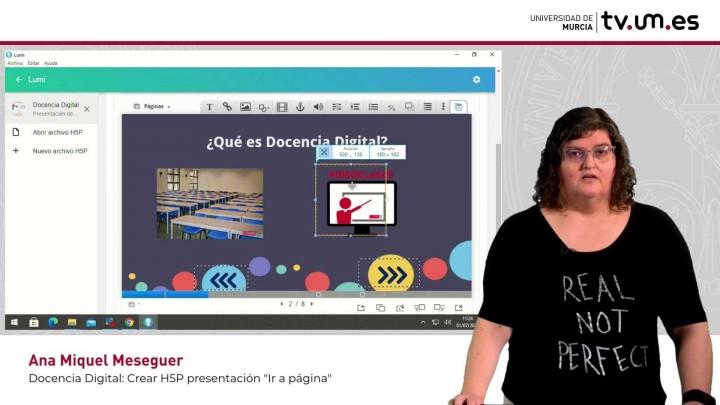 Cómo crear actividades H5P en una presentación del curso: Imágenes e ir a página