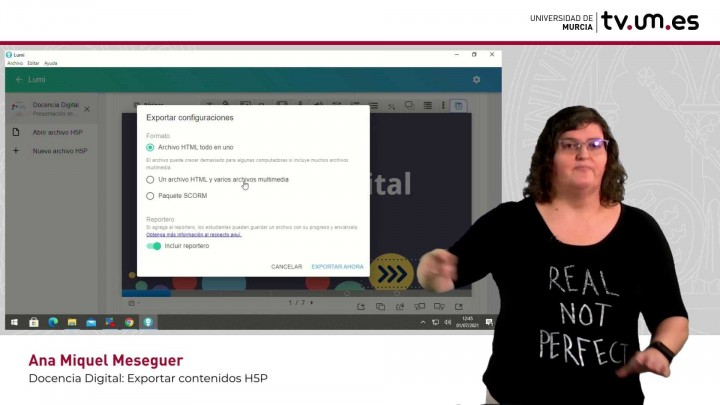 Cómo exportar a HTML una presentación interactiva H5P para publicar en Aula Virtual con reportero