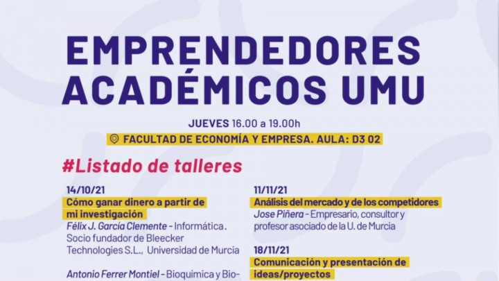 El próximo 14 de octubre comienza el programa de formación de emprendedores académicos